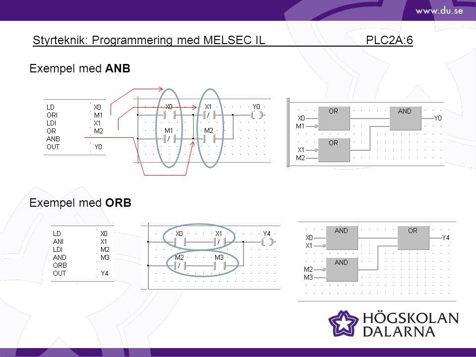 Styrteknik: Programmering med MELSEC IL PLC2A:6