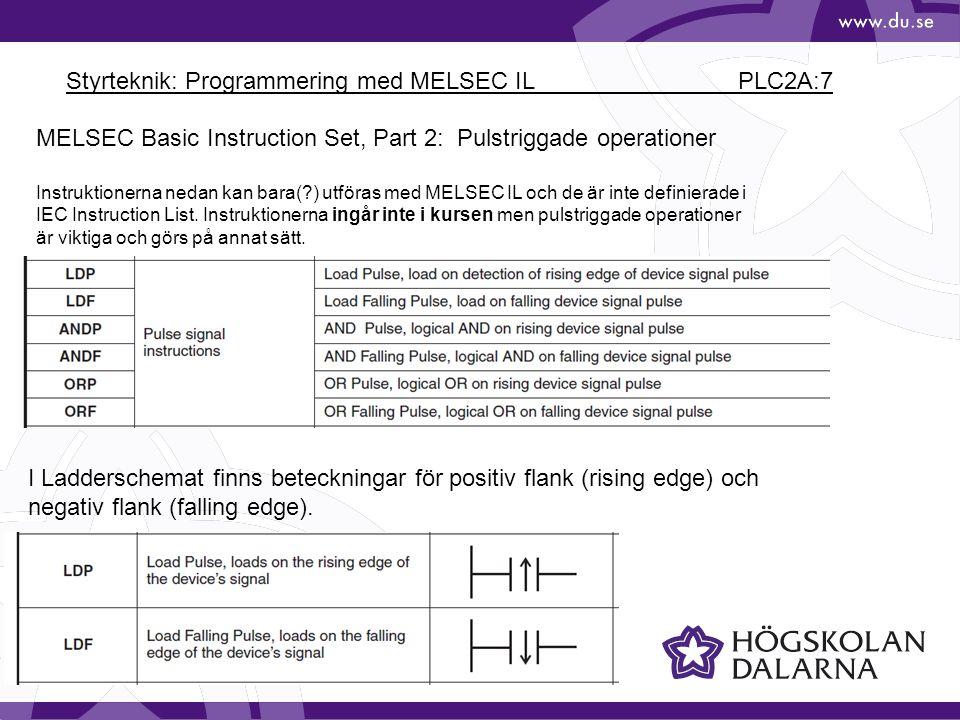 Styrteknik: Programmering med MELSEC IL PLC2A:7
