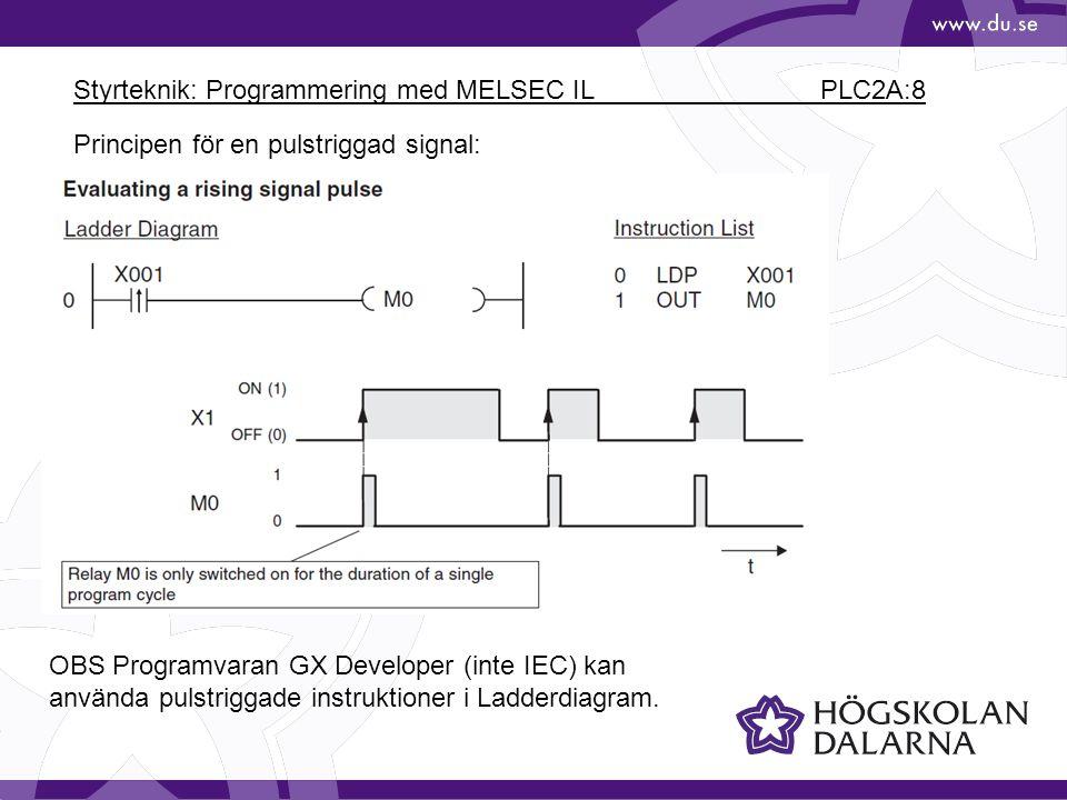 Styrteknik: Programmering med MELSEC IL PLC2A:8