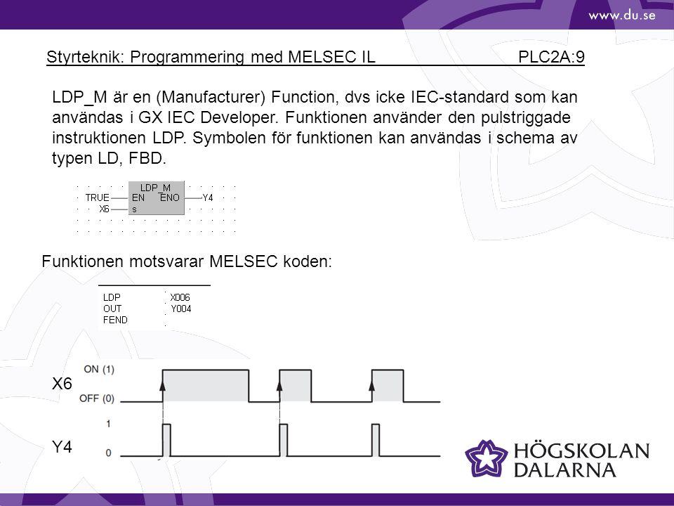 Styrteknik: Programmering med MELSEC IL PLC2A:9