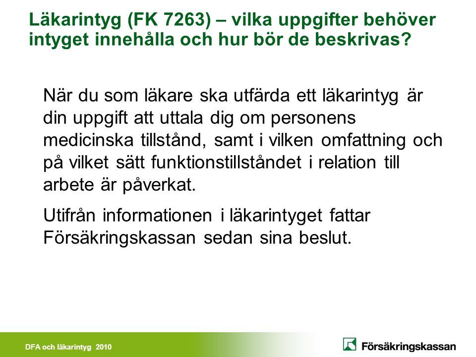 Läkarintyg (FK 7263) – vilka uppgifter behöver intyget innehålla och hur bör de beskrivas