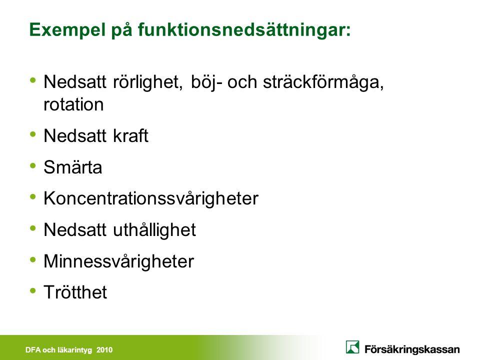 Exempel på funktionsnedsättningar:
