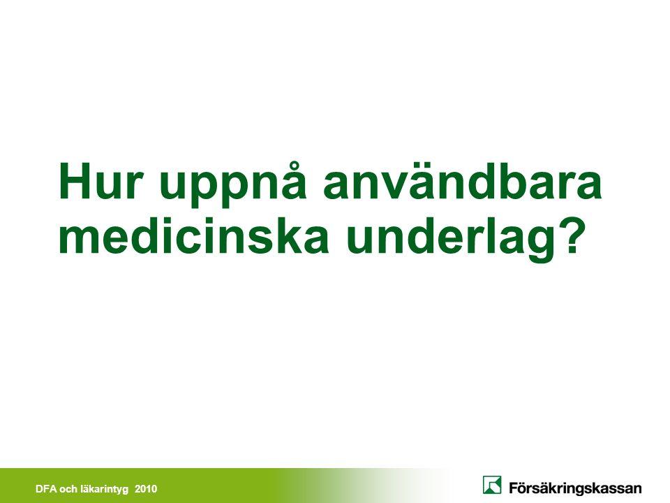 Hur uppnå användbara medicinska underlag