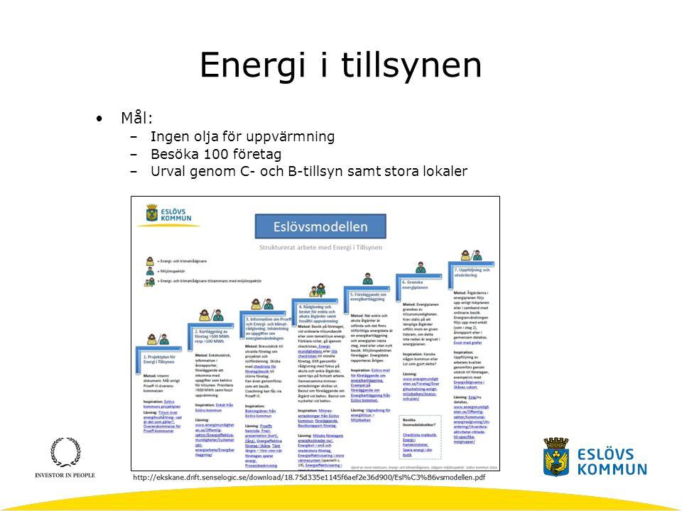 Energi i tillsynen Mål: Ingen olja för uppvärmning Besöka 100 företag