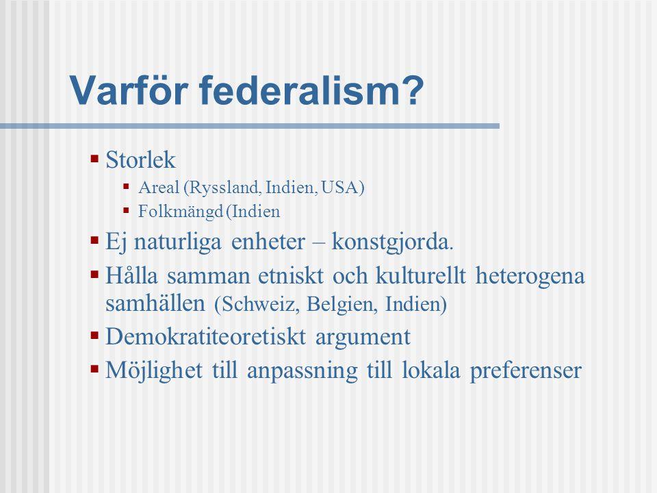 Varför federalism Storlek Ej naturliga enheter – konstgjorda.