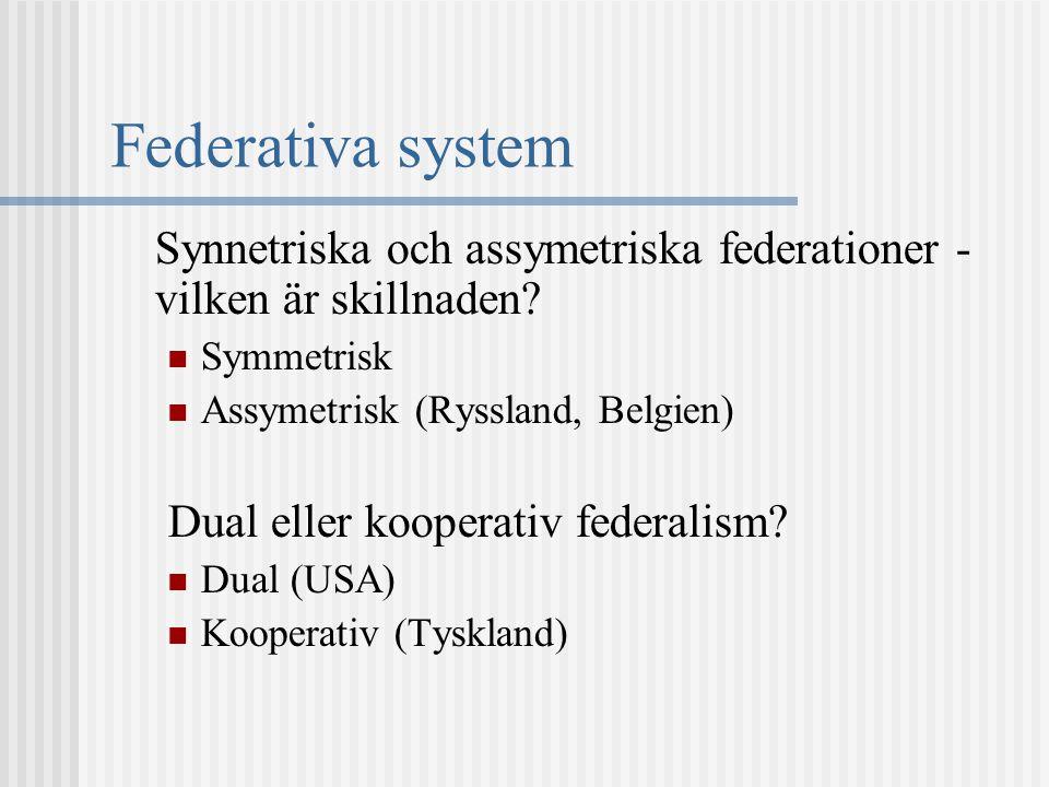 Federativa system Synnetriska och assymetriska federationer - vilken är skillnaden Symmetrisk. Assymetrisk (Ryssland, Belgien)