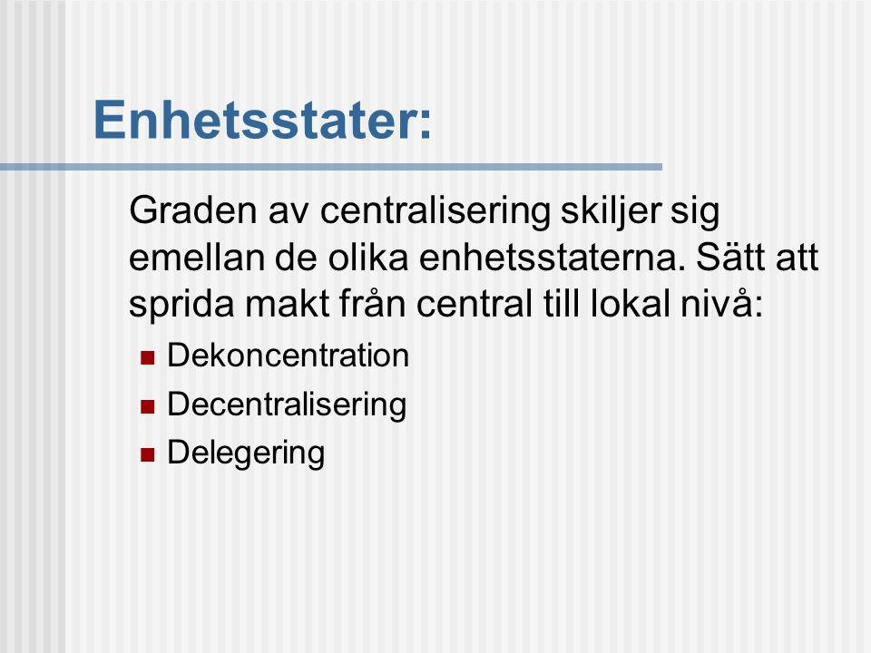 Enhetsstater: Graden av centralisering skiljer sig emellan de olika enhetsstaterna. Sätt att sprida makt från central till lokal nivå: