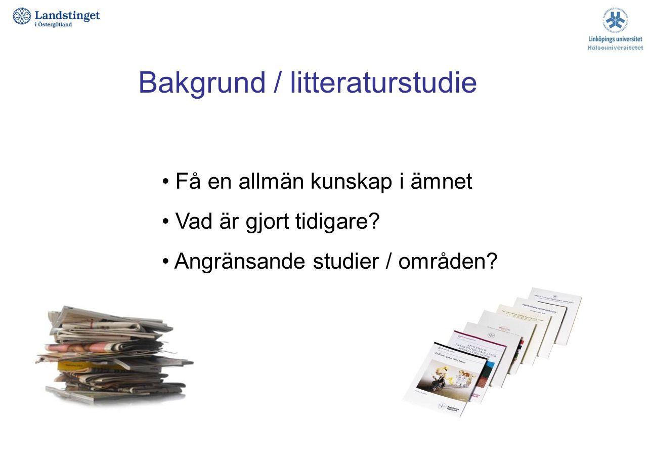 Bakgrund / litteraturstudie