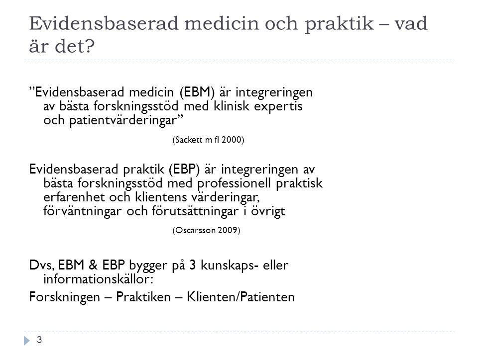 Evidensbaserad medicin och praktik – vad är det