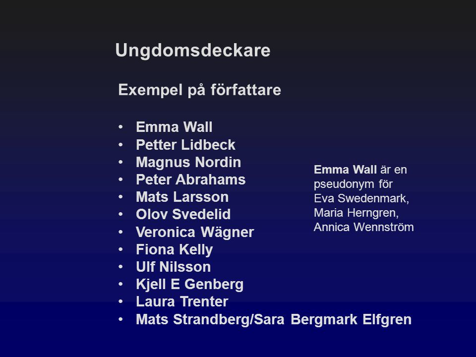 Ungdomsdeckare Exempel på författare Emma Wall Petter Lidbeck