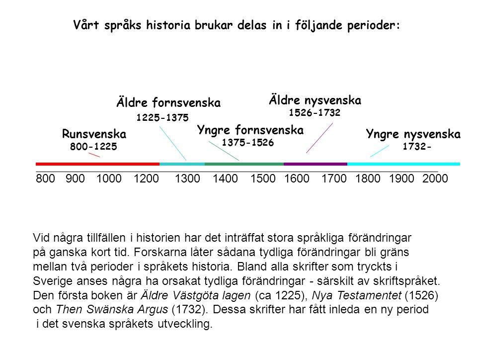 Vårt språks historia brukar delas in i följande perioder: