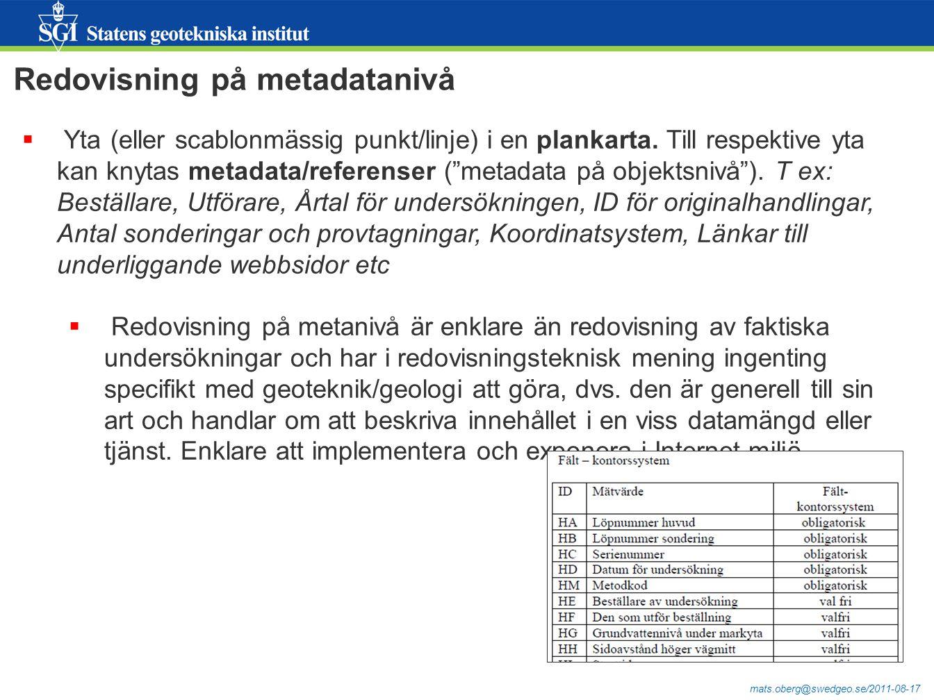 Redovisning på metadatanivå