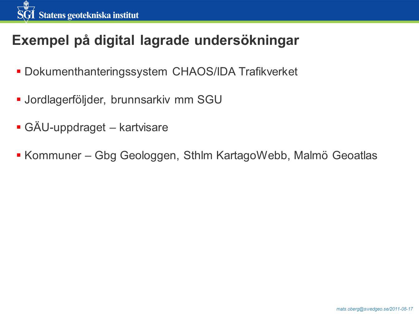Exempel på digital lagrade undersökningar