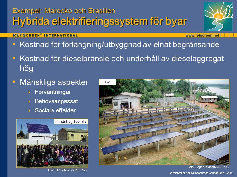 Exempel: Marocko och Brasilien Hybrida elektrifieringssystem för byar