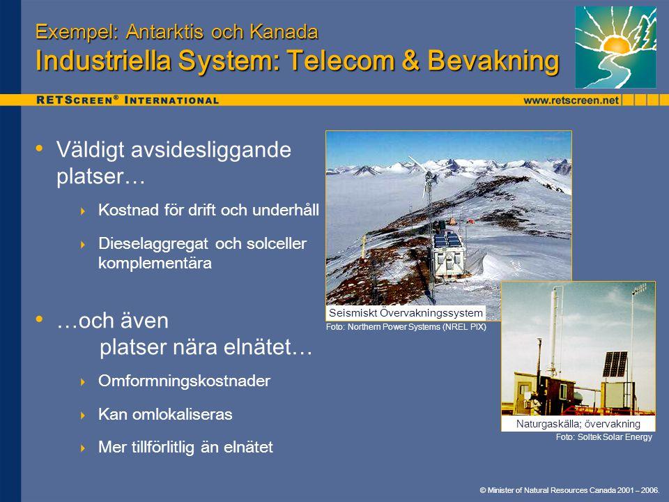 Exempel: Antarktis och Kanada Industriella System: Telecom & Bevakning