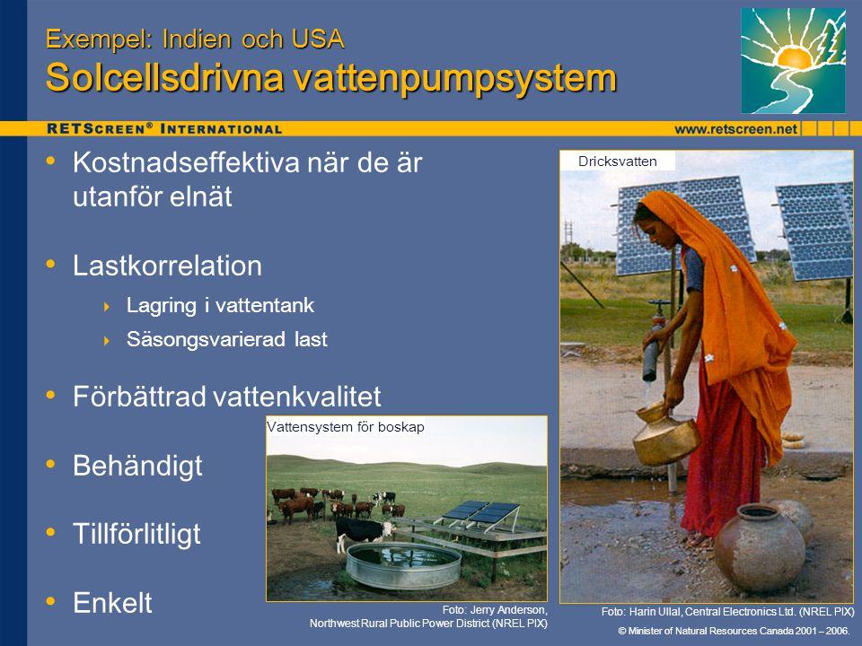 Exempel: Indien och USA Solcellsdrivna vattenpumpsystem