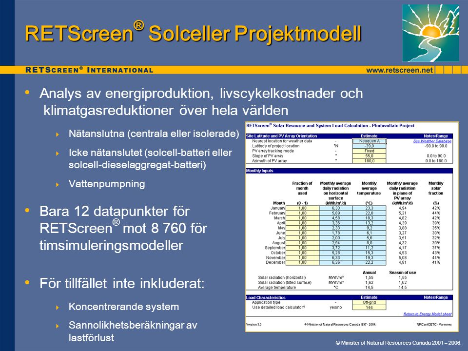 RETScreen® Solceller Projektmodell