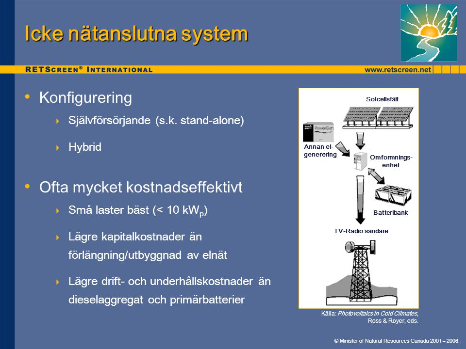Icke nätanslutna system