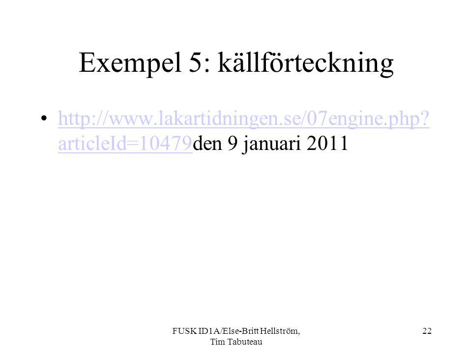 Exempel 5: källförteckning