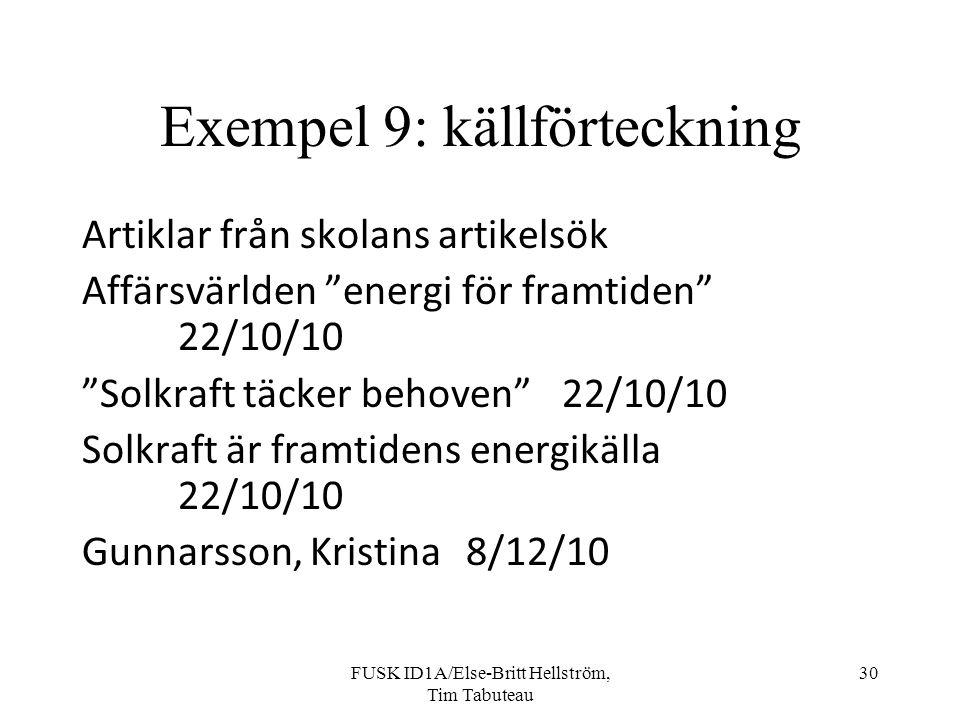 Exempel 9: källförteckning