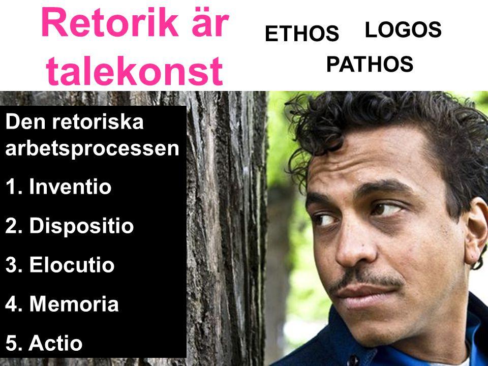 Retorik är talekonst LOGOS ETHOS PATHOS Den retoriska arbetsprocessen
