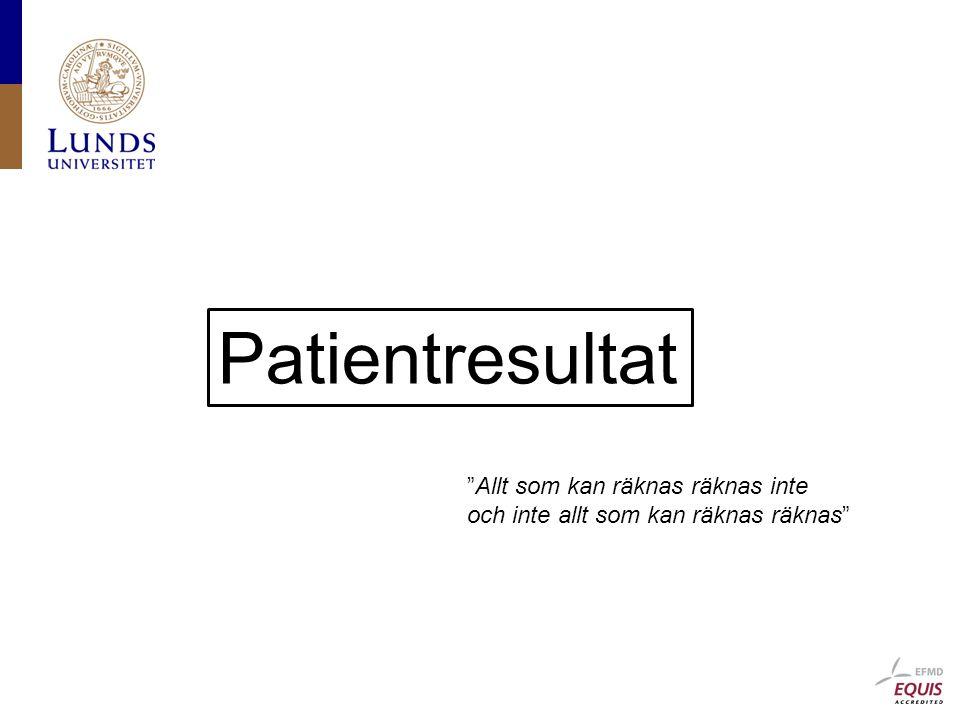 Patientresultat Allt som kan räknas räknas inte