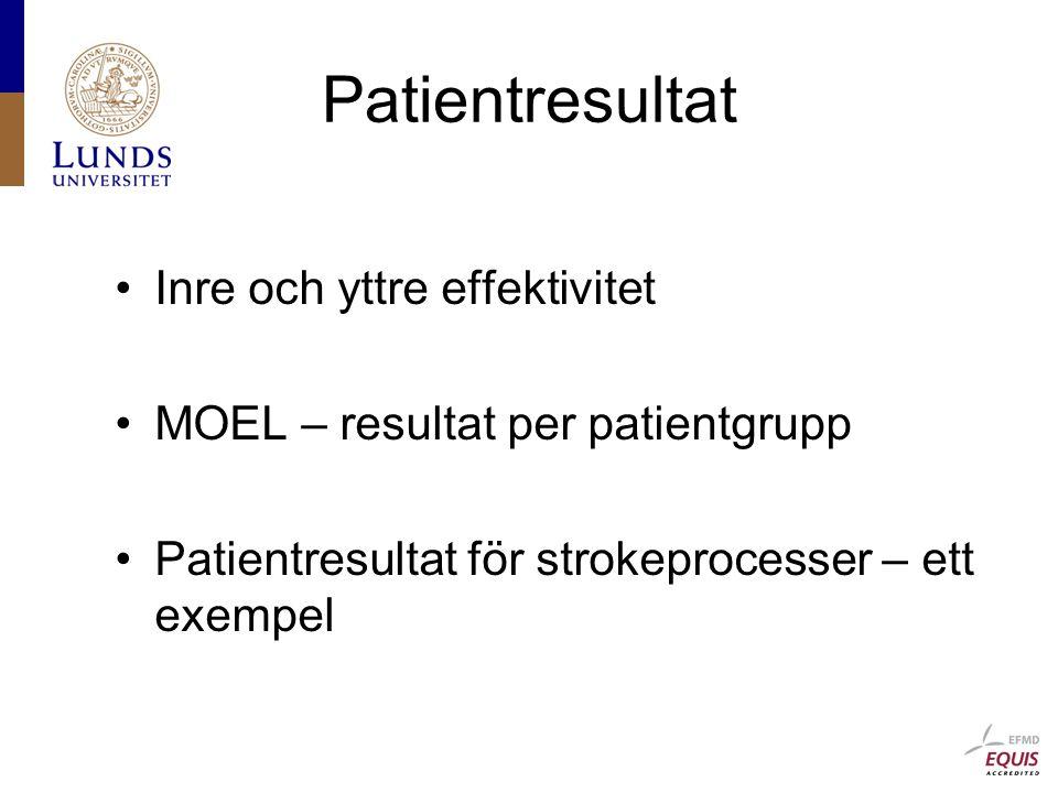 Patientresultat Inre och yttre effektivitet