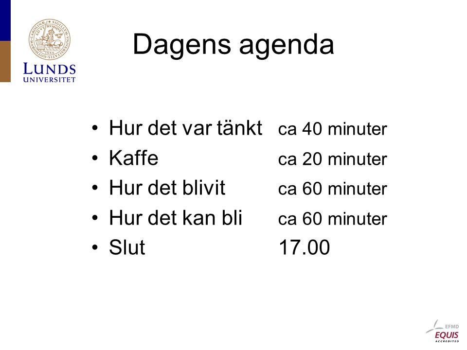 Dagens agenda Hur det var tänkt ca 40 minuter Kaffe ca 20 minuter