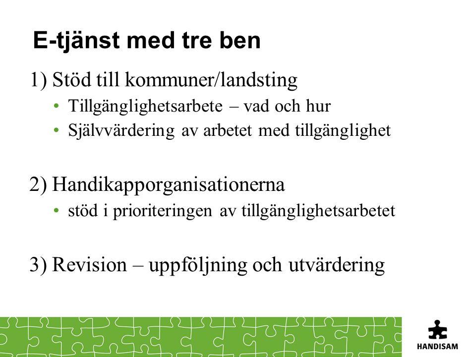 E-tjänst med tre ben 1) Stöd till kommuner/landsting