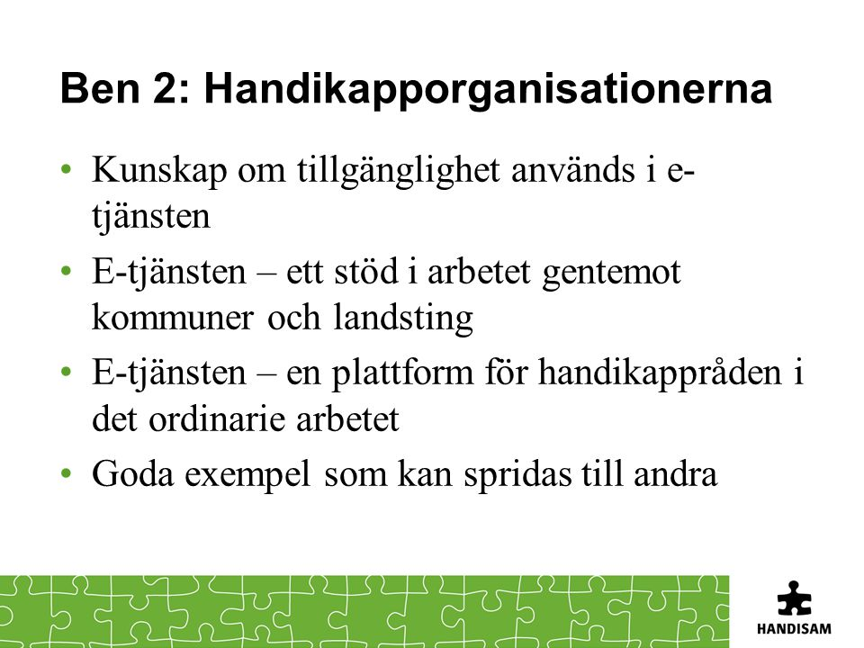 Ben 2: Handikapporganisationerna