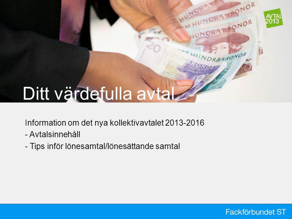 Ditt värdefulla avtal Information om det nya kollektivavtalet 2013-2016.