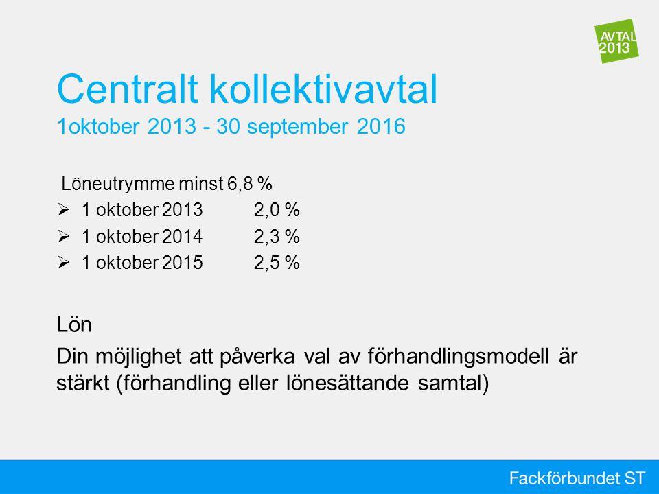 Centralt kollektivavtal 1oktober 2013 - 30 september 2016