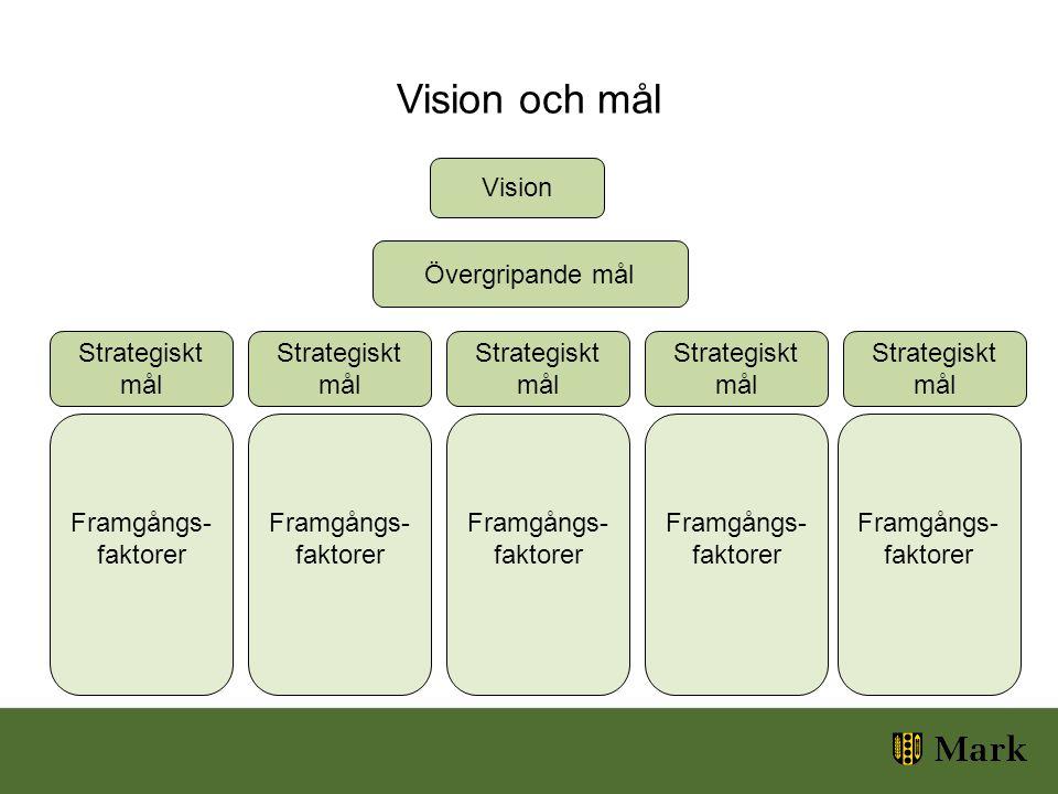 Vision och mål Vision Övergripande mål Strategiskt mål Strategiskt mål