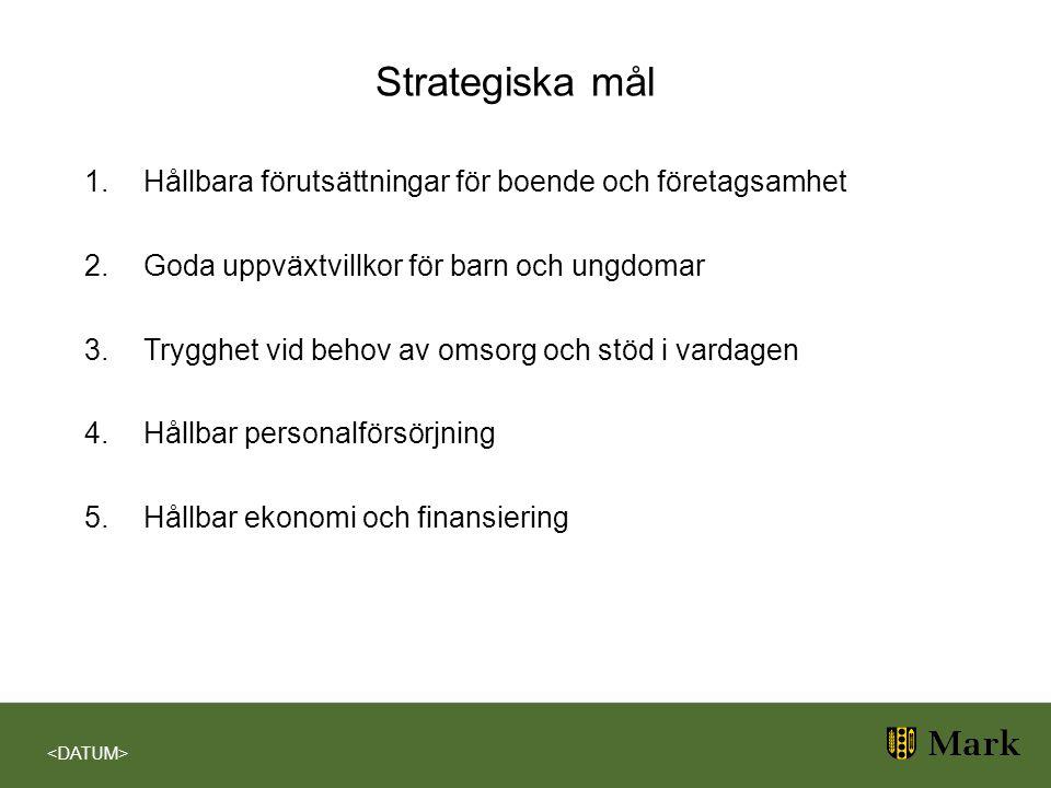 Strategiska mål Hållbara förutsättningar för boende och företagsamhet