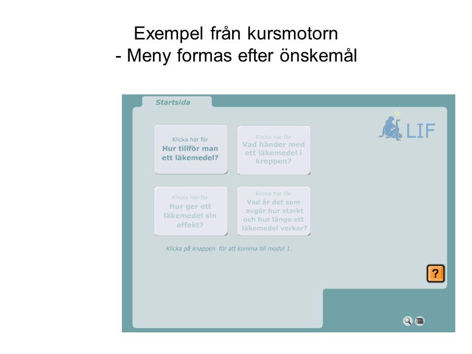 Exempel från kursmotorn - Meny formas efter önskemål