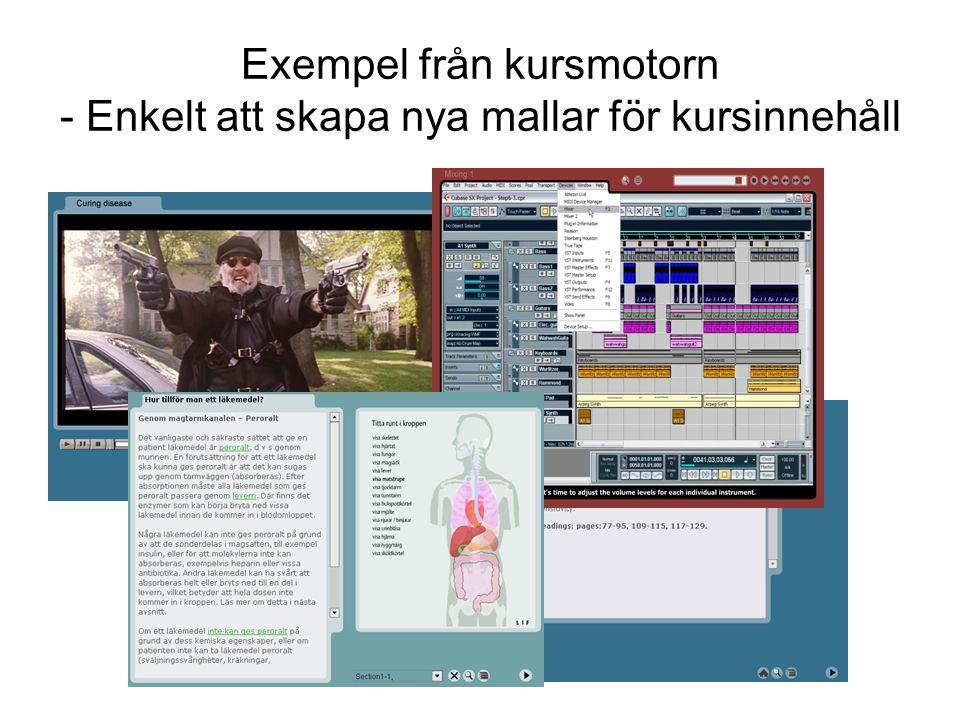 Exempel från kursmotorn - Enkelt att skapa nya mallar för kursinnehåll