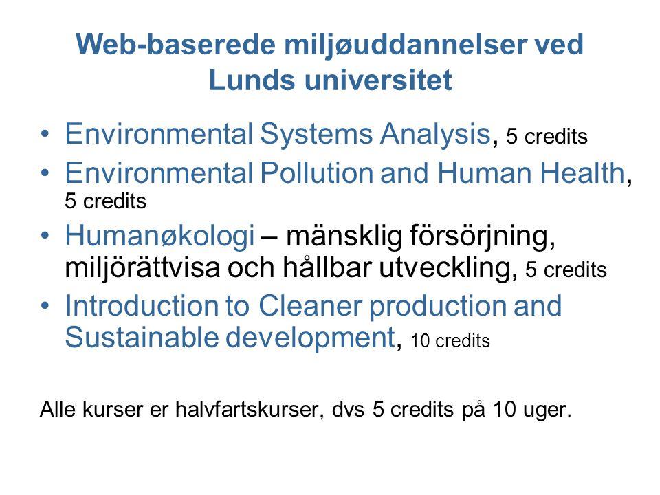 Web-baserede miljøuddannelser ved Lunds universitet