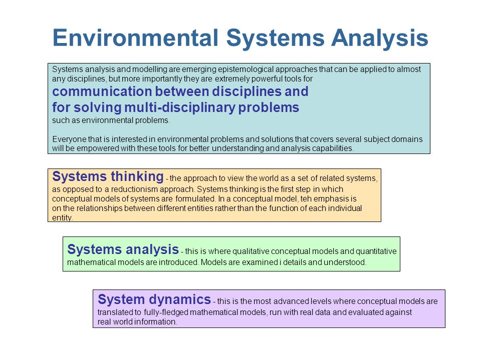 Environmental Systems Analysis