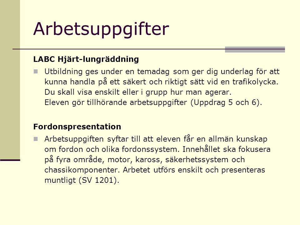 Arbetsuppgifter LABC Hjärt-lungräddning