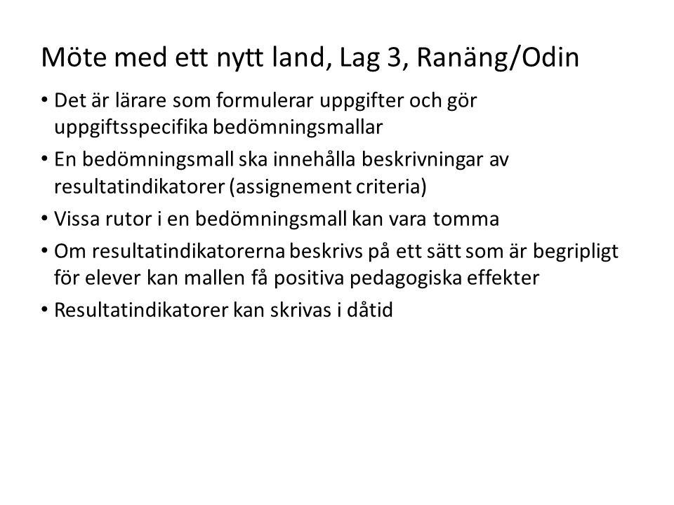 Möte med ett nytt land, Lag 3, Ranäng/Odin