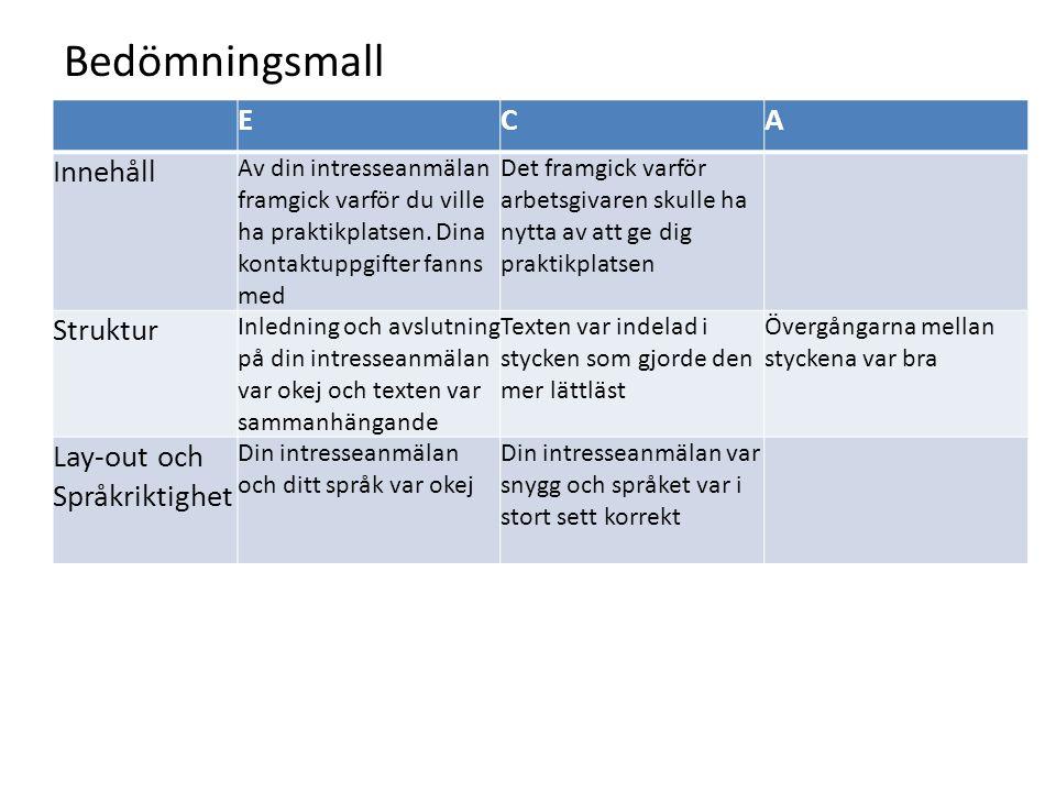 Bedömningsmall E C A Innehåll Struktur Lay-out och Språkriktighet