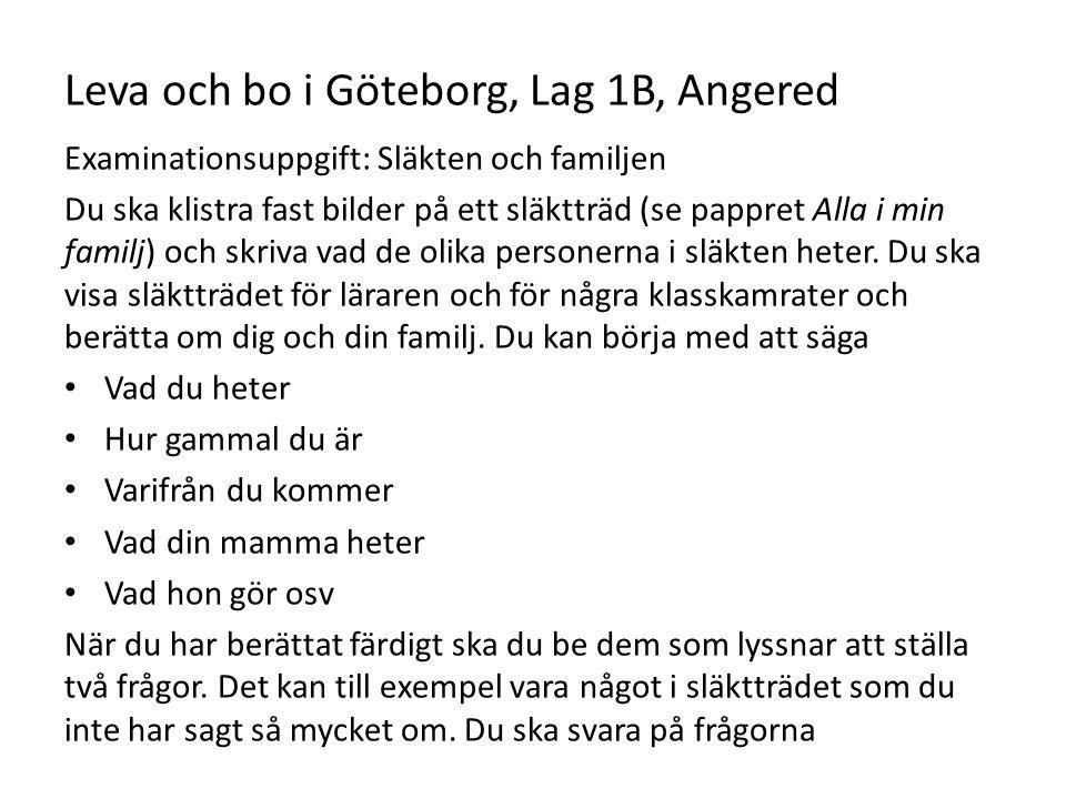 Leva och bo i Göteborg, Lag 1B, Angered
