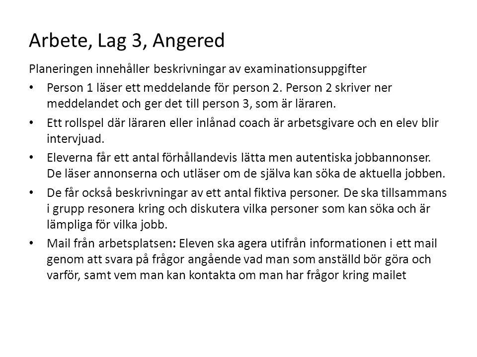 Arbete, Lag 3, Angered Planeringen innehåller beskrivningar av examinationsuppgifter.