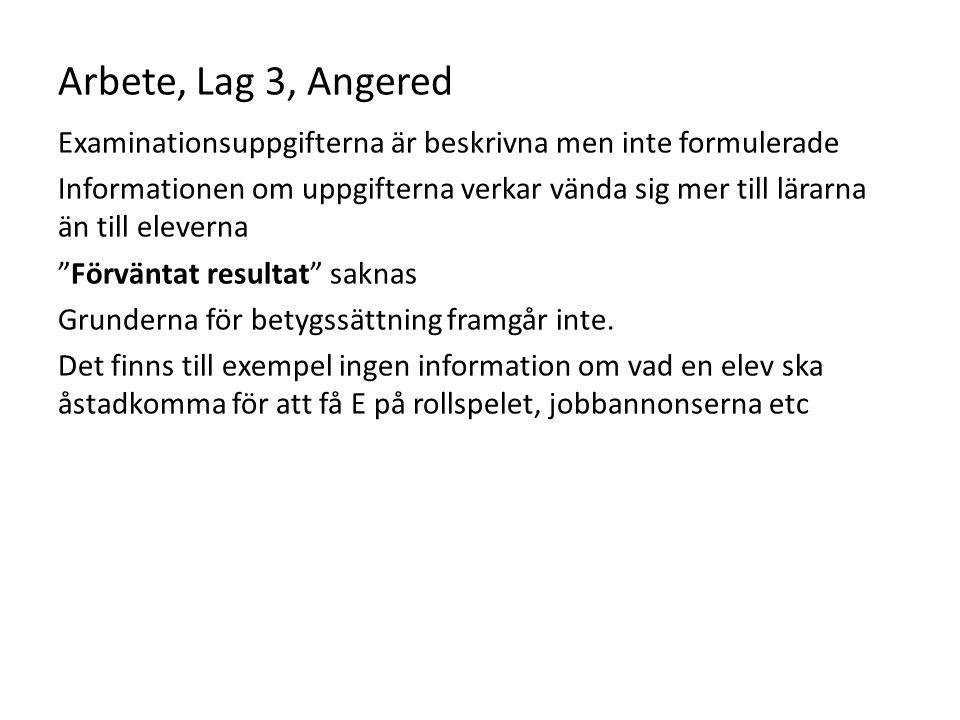 Arbete, Lag 3, Angered Examinationsuppgifterna är beskrivna men inte formulerade.