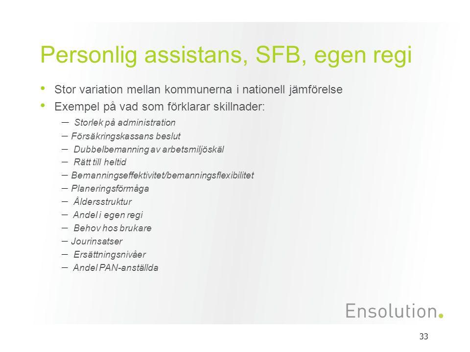 Personlig assistans, SFB, egen regi