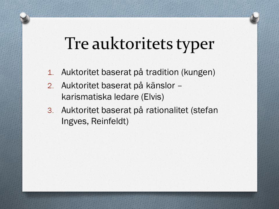 Tre auktoritets typer Auktoritet baserat på tradition (kungen)