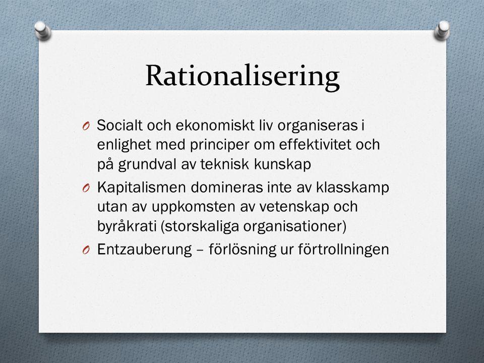 Rationalisering Socialt och ekonomiskt liv organiseras i enlighet med principer om effektivitet och på grundval av teknisk kunskap.
