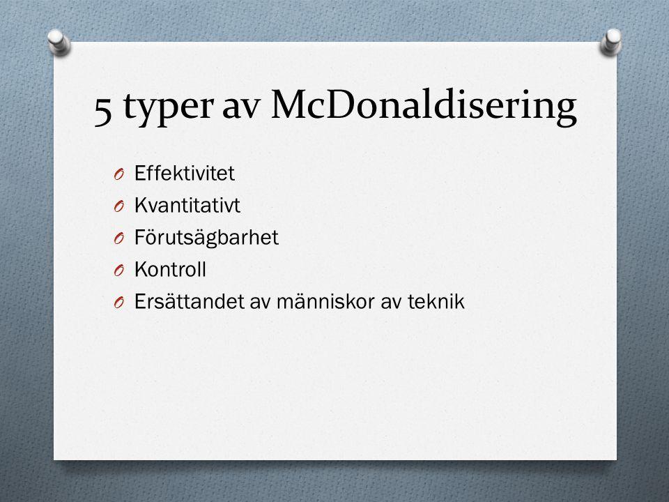 5 typer av McDonaldisering