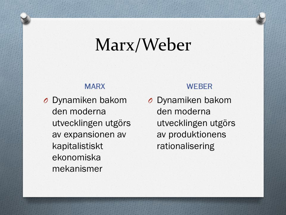 Marx/Weber MARX. WEBER. Dynamiken bakom den moderna utvecklingen utgörs av expansionen av kapitalistiskt ekonomiska mekanismer.