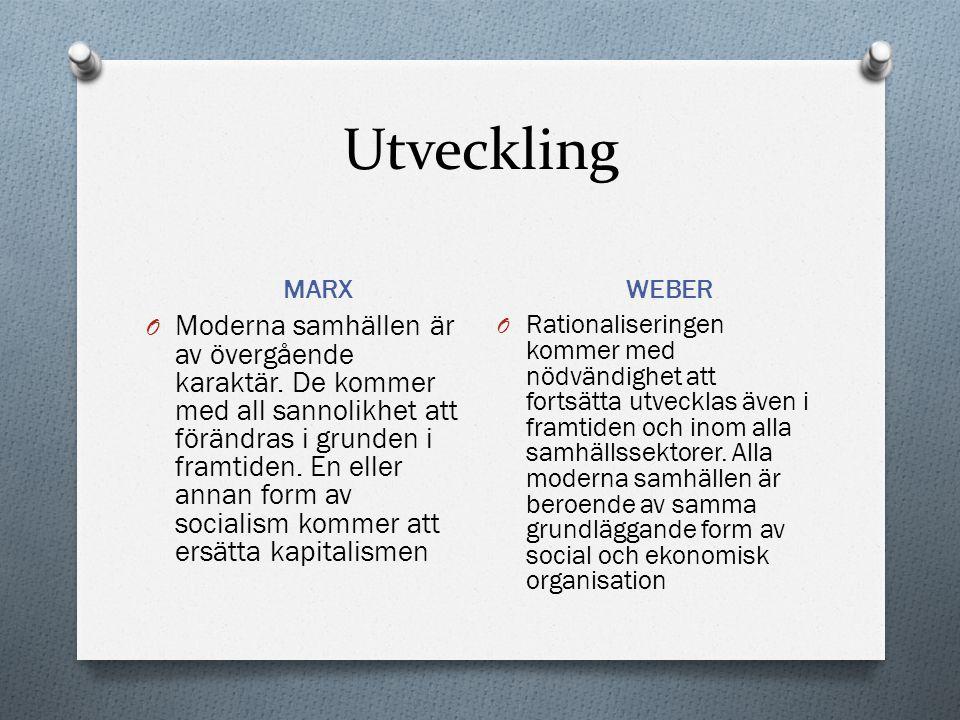 Utveckling MARX. WEBER.